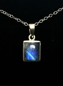 Rectangle Rainbow Moonstone Pendant Silver